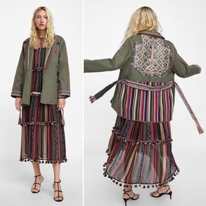 ZARA EMBROIDERED JACKET WITH MIRROR BEAD DETAIL